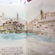 Florence Plissart, carnet voyage Porto, carnet voyage Portugal, carnet accordéon, leporello, Porto, dessin Porto, aquarelle Porto, mélange texte dessin, douro