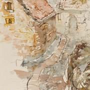 Florence Plissart, Lozère, carnet de voyage Lozère, dessin Lozère, Liaucous, architecture caussenarde, maison caussenarde