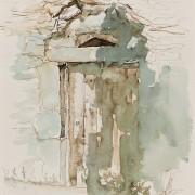 Florence Plissart, Sauveterre, Lozère,carnet de voyage Lozère, dessin Lozère, Soulages, architecture caussenarde, maison caussenarde
