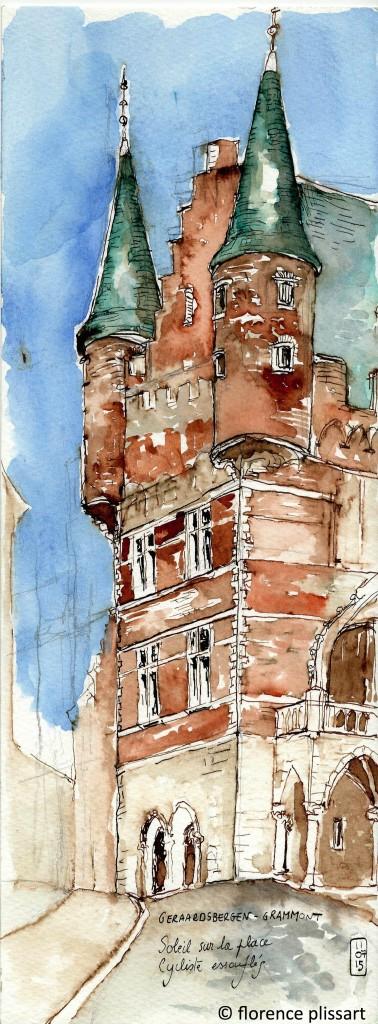 aquarelle, hôtel de ville Grammont, carnet de voyage, belgique