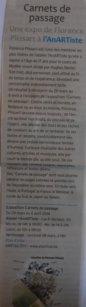 article, Florence Plissart, Carnets de passages, Info Jette