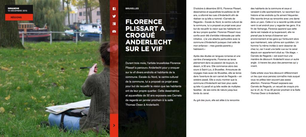 article, Florence Plissart, Carnets de Regards, Anderlecht, Capitale, Sud-Info