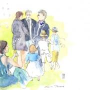 Florence Plissart, croquis mariage, reportage dessin mariage, dessins de mariage, dessinateur mariage, album mariage, album dessiné, reportage croqué, cadeau mariage original, cérémonie laïque, vin d'honneur