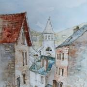 Florence Plissart, rue droite chanac, dessin chanac, aquarelle chanac, architecture chanac, église chanac