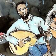 Florence Plissart, croquis Hussein Rassim, muziekpublique, Refugees for refugees, croquis de concert, concert sketch, oud sketch, dessin oud, syrian music, musique syrienne