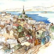 Florence Plissart, Valparaiso, Chili, croquis voyage, carnet de voyage Chili, dessin Chili, Valparaiso sketch, dibujo Valparaiso, Urban sketcher, urban sketching