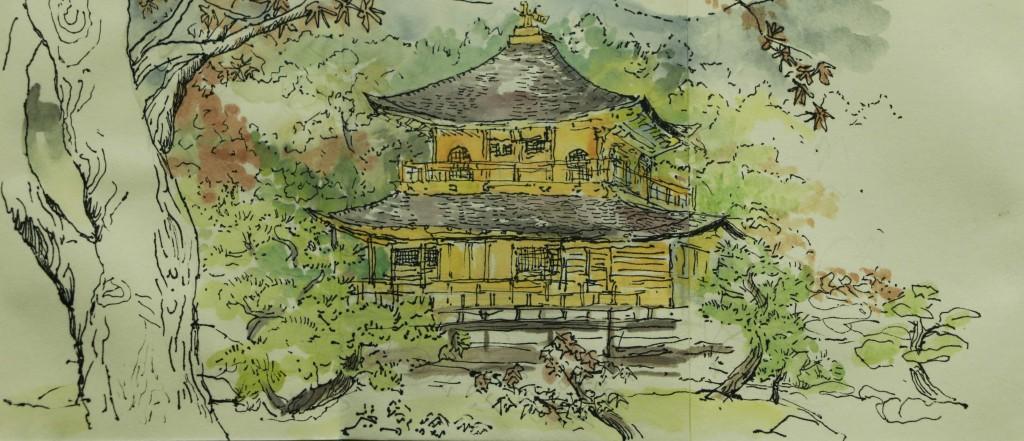 Florence Plissart, dessin, aquarelle, Kyoto, pavillon d'or, Japon