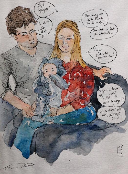 Florence Plissart, croquis de vie, croquis naissance, croquis bébé