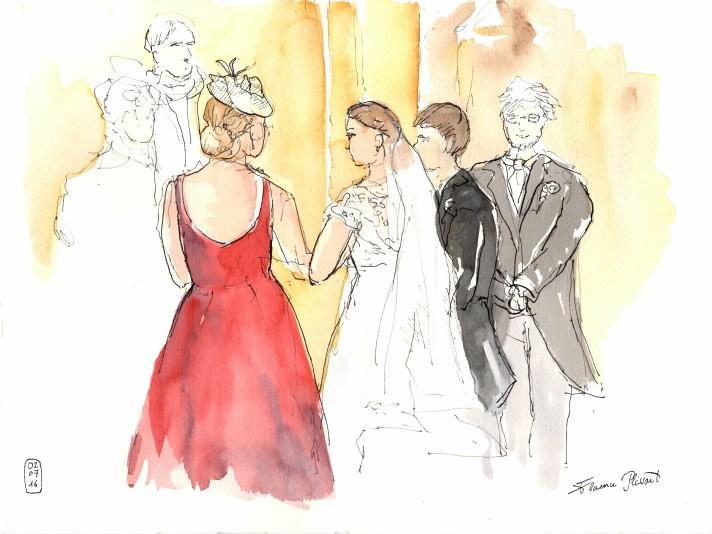Florence Plissart, croquis mariage, croquis cérémonie