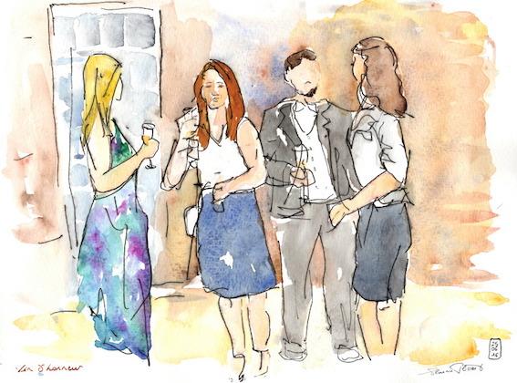Florence Plissart, croquis mariage, dessin mariage, croquis vin d'honneur